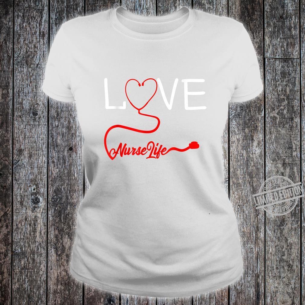 LOVE Stethoscope Nurse Life Valentine's Day Shirt ladies tee