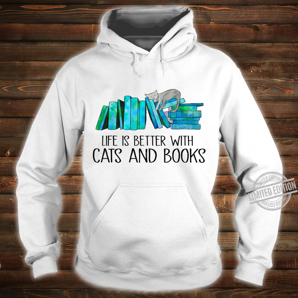 Life Is Better With Cats And Books Love Reading Book Shirt hoodie