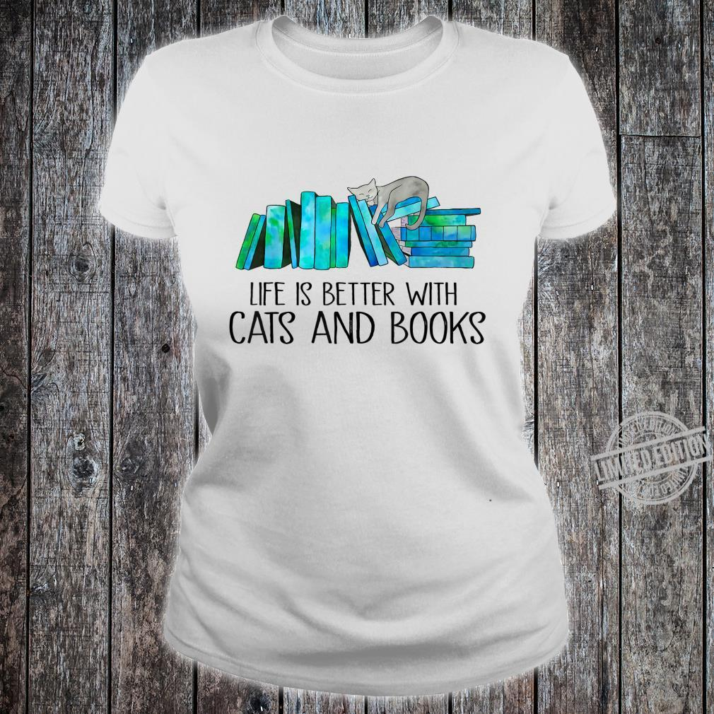 Life Is Better With Cats And Books Love Reading Book Shirt ladies tee