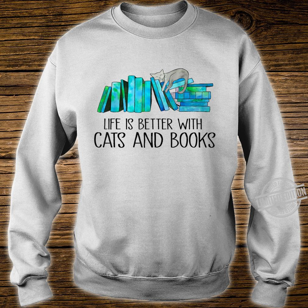 Life Is Better With Cats And Books Love Reading Book Shirt sweater