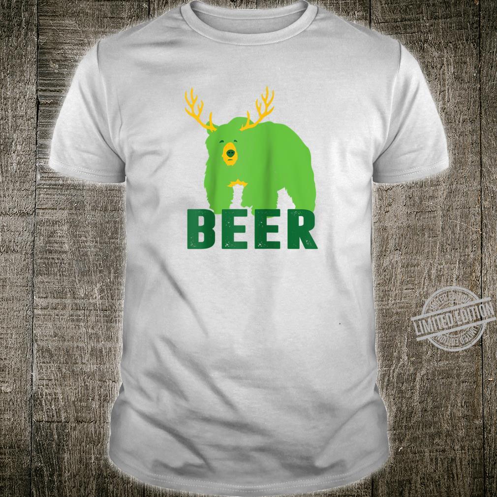 Lucky Green Beer Bear Deer St Patricks Day Outdoors Shirt