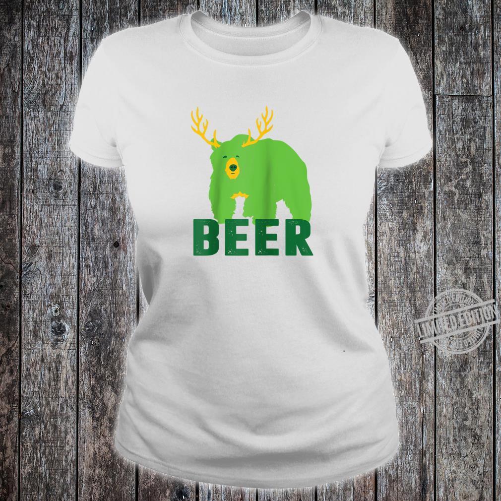 Lucky Green Beer Bear Deer St Patricks Day Outdoors Shirt ladies tee