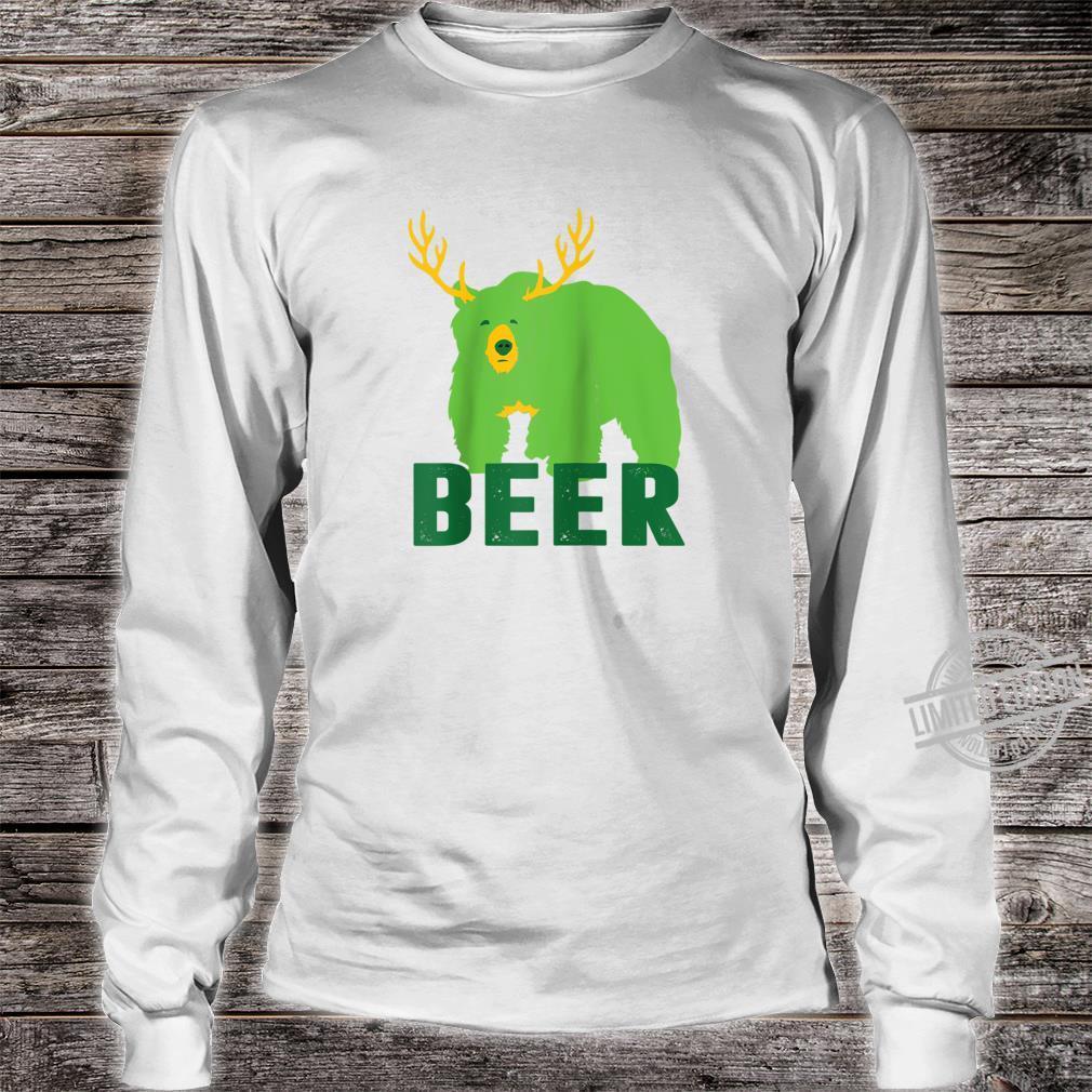 Lucky Green Beer Bear Deer St Patricks Day Outdoors Shirt long sleeved