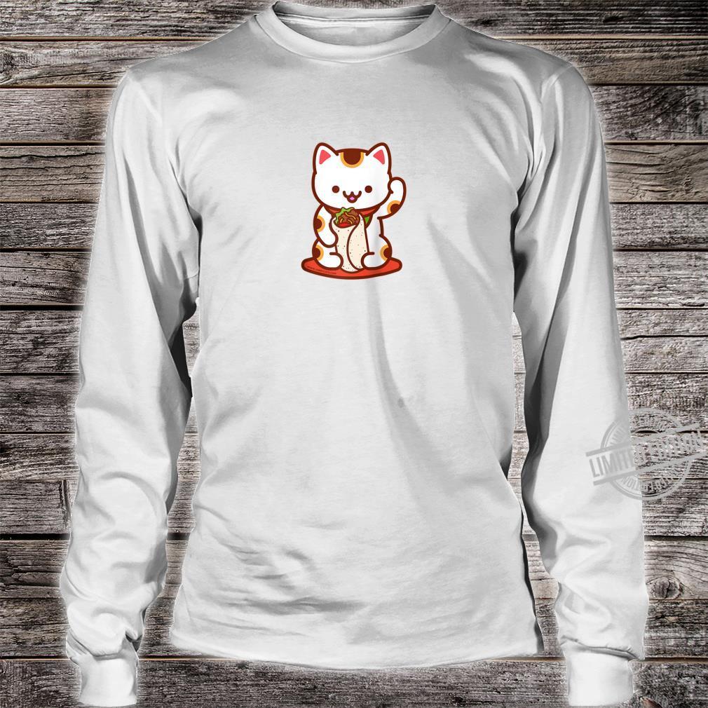 Manekineko Burrito Lucky Japanese Cat Anime, Kawaii Shirt long sleeved