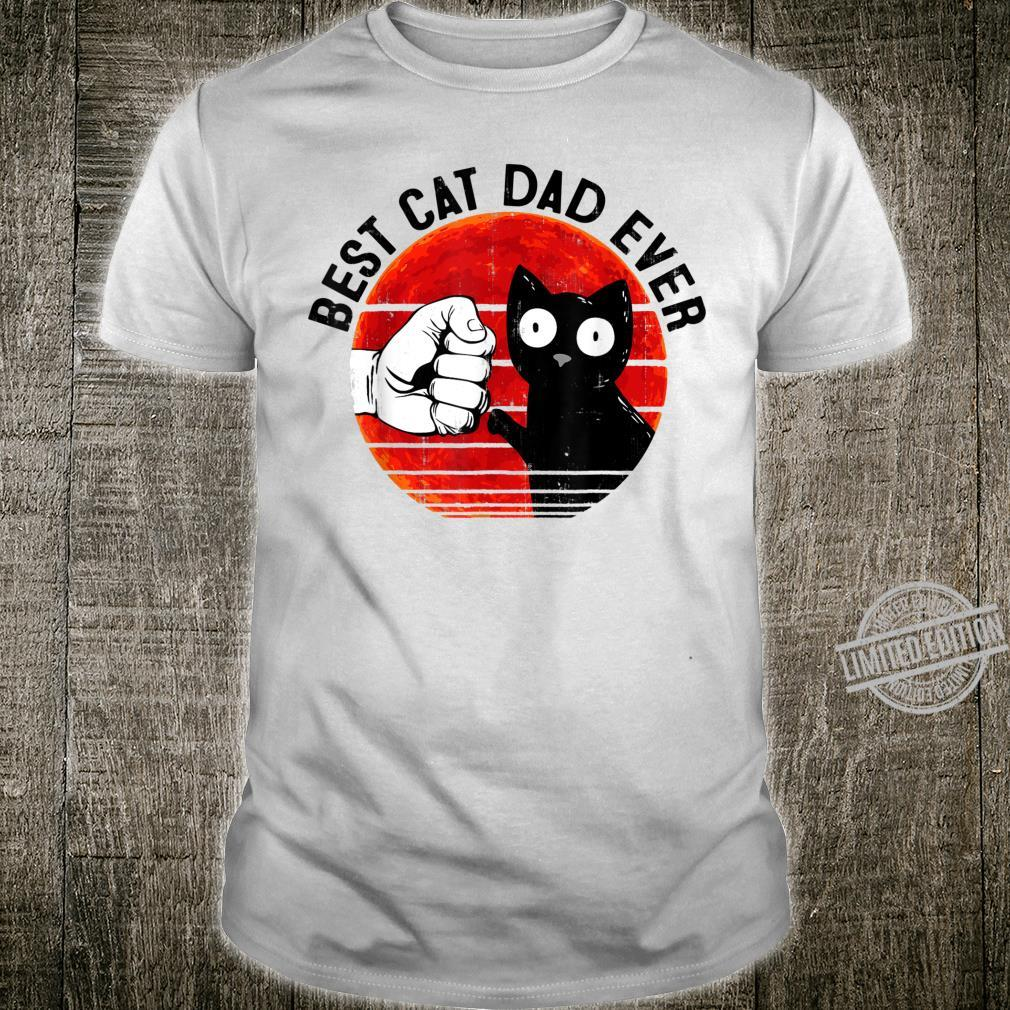 Mens Best Cat Dad Ever Red Moon Black Cat Fathers Day Shirt