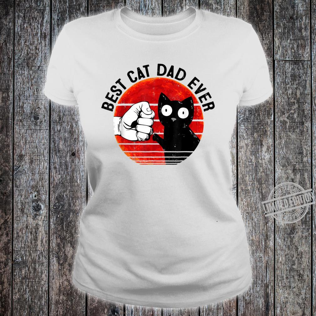 Mens Best Cat Dad Ever Red Moon Black Cat Fathers Day Shirt ladies tee