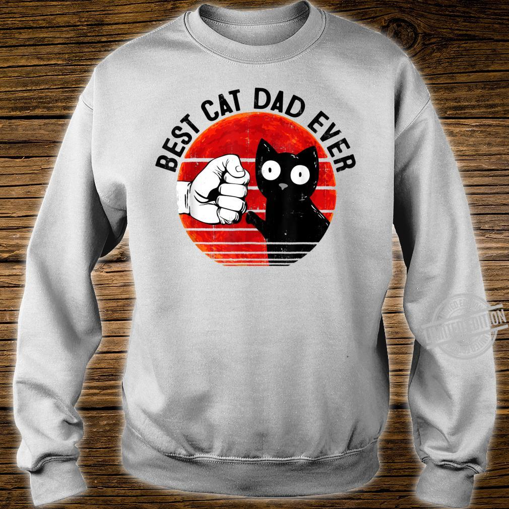 Mens Best Cat Dad Ever Red Moon Black Cat Fathers Day Shirt sweater